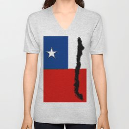 Chilean Flag with Map of Chile Unisex V-Neck
