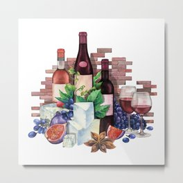 Watercolor wine glasses and bottles decorated with delicious food Metal Print