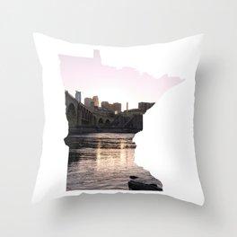 Minneapolis Skyline and Minnesota Map Outline Throw Pillow