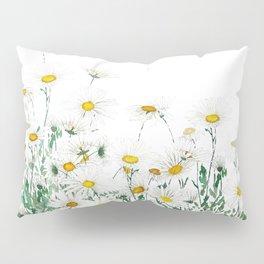 white margaret daisy horizontal watercolor painting Pillow Sham