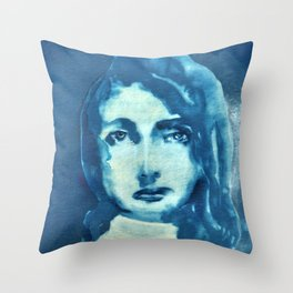 Blouse (in blue and white) Throw Pillow