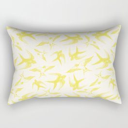Swooping Swallows in Yellow Rectangular Pillow
