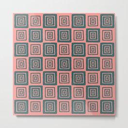 Mid Century Modern Geometric Checker 821 Green and Coral Metal Print