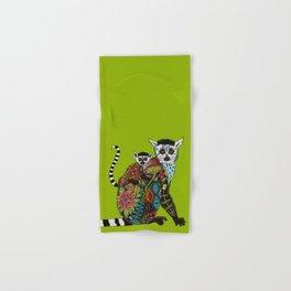 ring tailed lemur love lime Hand & Bath Towel