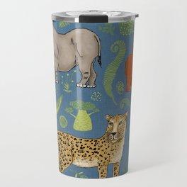 endangered animals, black rhino, amur leopard, bornean orangutan Travel Mug
