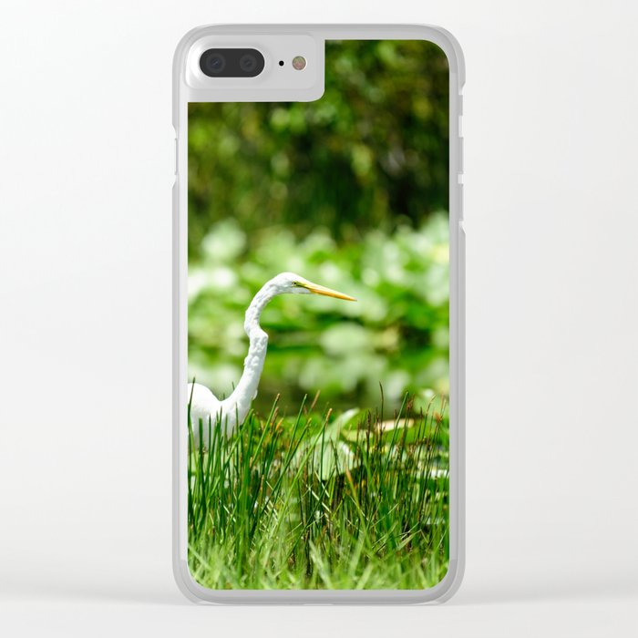 Great Egret in a Green Field Clear iPhone Case