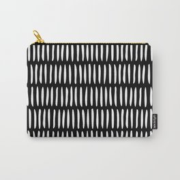 Classy Handpainted Stripes Pattern Black, Scandinavian Design Carry-All Pouch