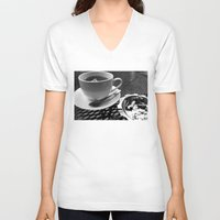 cafe V-neck T-shirts featuring cafe by Emily Baker Photography and Design