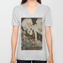 Utagawa Kuniyoshi  - Mitsukuni And The Skeleton Unisex V-Neck
