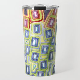 Pattern with few Restraining Black Lines Travel Mug