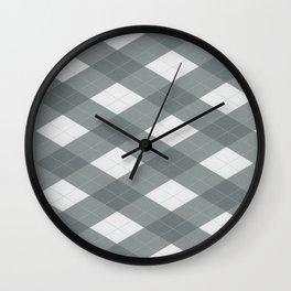 PPG Night Watch Pewter Green Argyle, Plaid Diamond Pattern Wall Clock