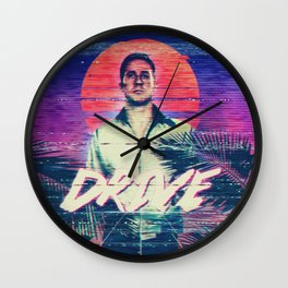Drive 80s VHS poster Wall Clock