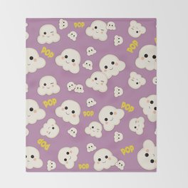Cute Kawaii Popcorn pattern Throw Blanket
