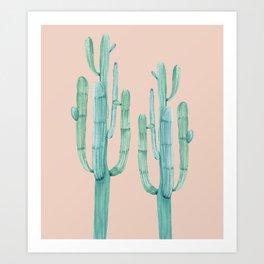 Besties Cactus Friends Turquoise + Coral Art Print
