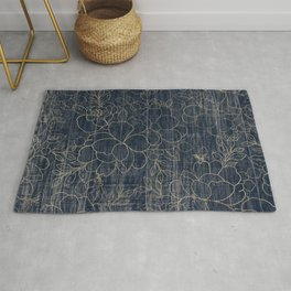 Rustic blue white wood gold floral Rug