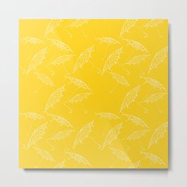 Yellow Summer Beach Bliss Umbrella Pattern Metal Print