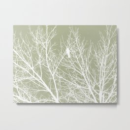 White Bird in White Tree - Moss A593 Metal Print