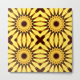 Sunflowers Yellow & Brown Pinwheel Flowers Metal Print