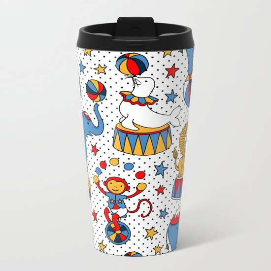 Little Circus Stars on White Metal Travel Mug