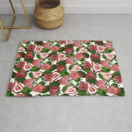 strawberry watercolor Rug
