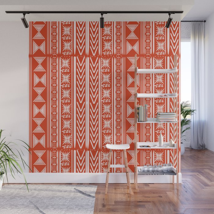 Boho Mud Cloth (Coral) Wall Mural