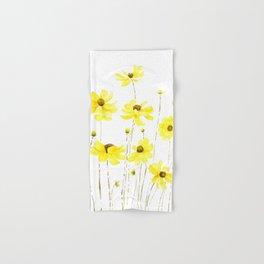 yellow cosmos flowers watercolor Hand & Bath Towel