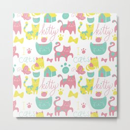 Abstract lime green pink cute cats pattern modern typography Metal Print