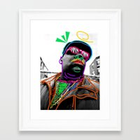biggie Framed Art Prints featuring Biggie by Kibwe Maono