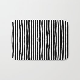 Black and White Vertical Stripes Bath Mat