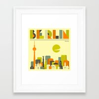 berlin Framed Art Prints featuring BERLIN by Jazzberry Blue