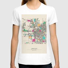 Colorful City Maps: Lincoln, Nebraska T-shirt
