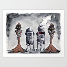 Jawas and Droids Art Print