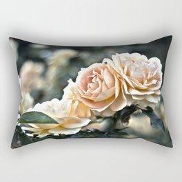 "Flower Art - Sunset Floral Print - Coral Pink, Peach, Yellow - Shabby Chic Art - "" Three Roses"" Rectangular Pillow"