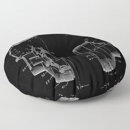 Headphones Patent - White on Black Floor Pillow