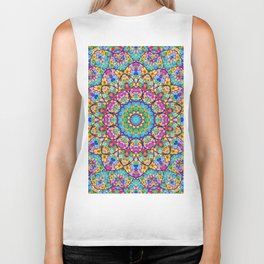 Colorful kaleidoscope flowers Biker Tank