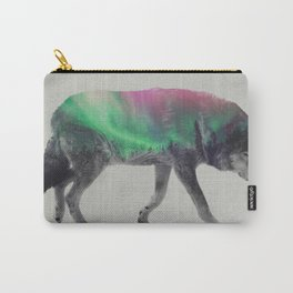 Wolf In The Aurora Borealis Carry-All Pouch