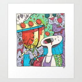 Summer Day in the Countryside Full of Happiness, Berries, Cats and Love Art Print