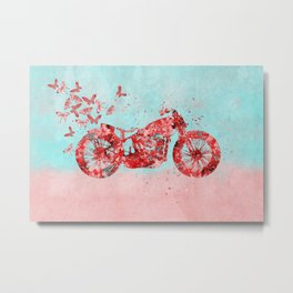 Happy Trip Motorbike Flower Power Art Metal Print