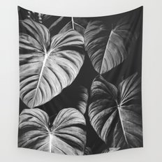Monstera Black and White Wall Tapestry
