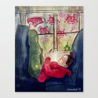 video games Canvas Prints featuring Girls & Video Games by Danielle Feigenbaum