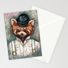 Cute Red Panda in Bowler hat Stationery Cards