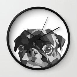 Pug Geometric art Black pugs Dog portrait Pet Wall Clock