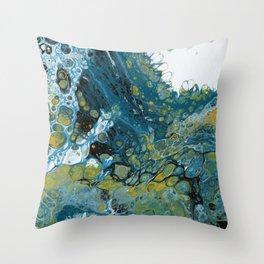 Teal Waves Throw Pillow