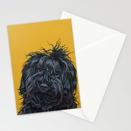 Sweet Puli Puppy Painting, Dreadlock Dog Art, Puli Dog Portrait Stationery Cards