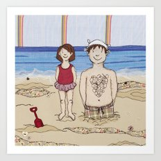 Embroidered Father and Daughter Beach Illustration Art Print
