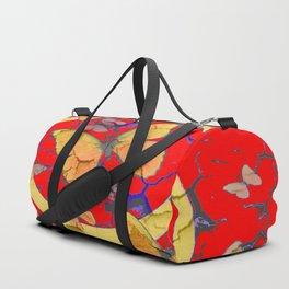 SHABBY CHIC GOLDEN BUTTERFLIES & RED ABSTRACT ART Duffle Bag