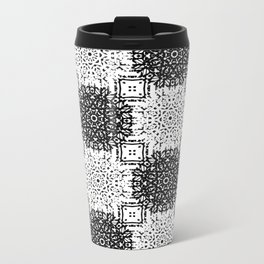 Black and White Gothic Lacy Mandala and Checker Tile Metal Travel Mug