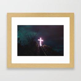 Pink Cross Framed Art Print