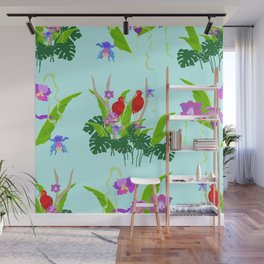 Scarlet ibis and orchids pattern Wall Mural
