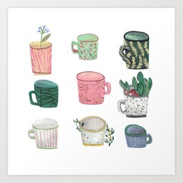 Pattern Cups - Asma Original Art Print